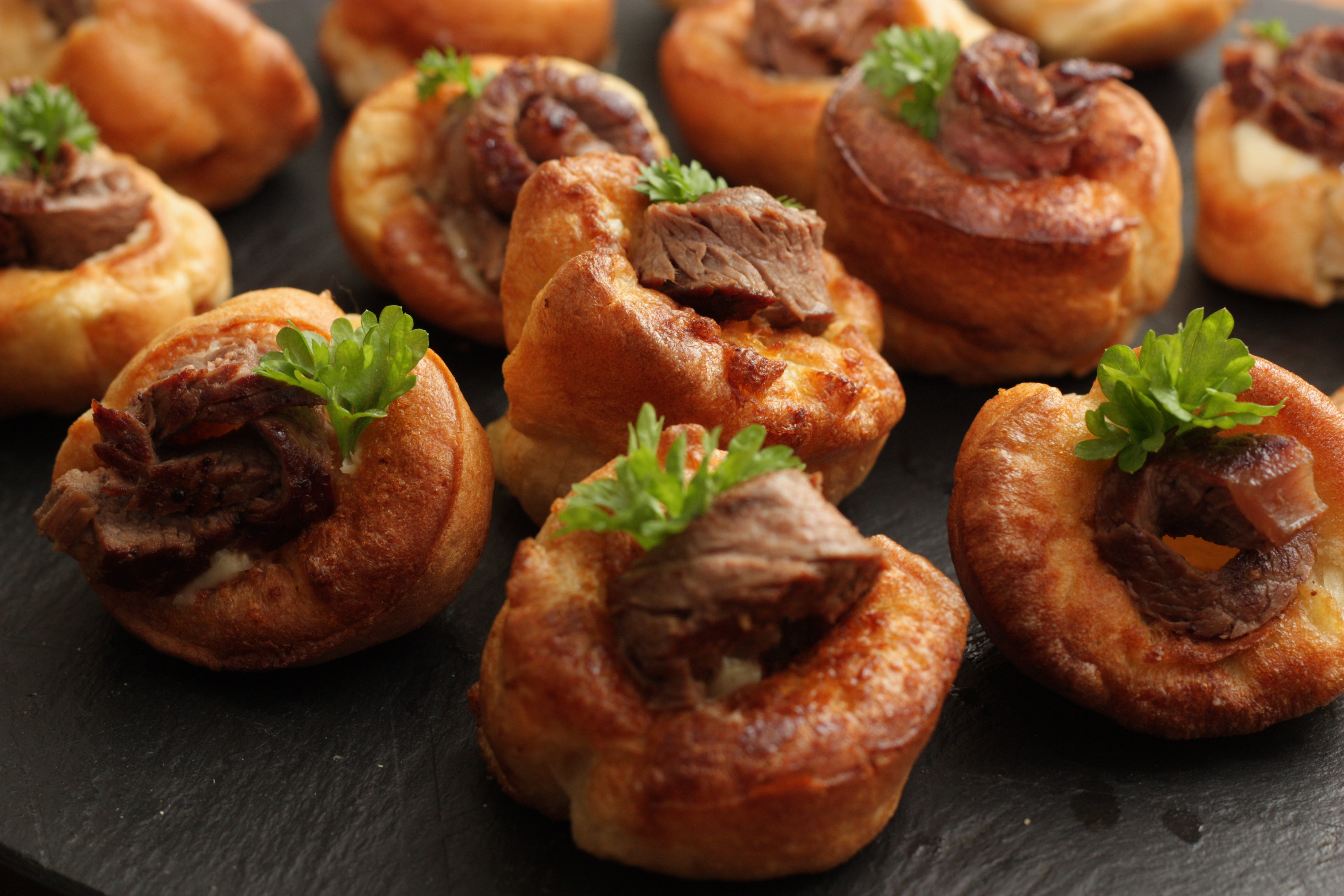 Beef and yorkshire canapes