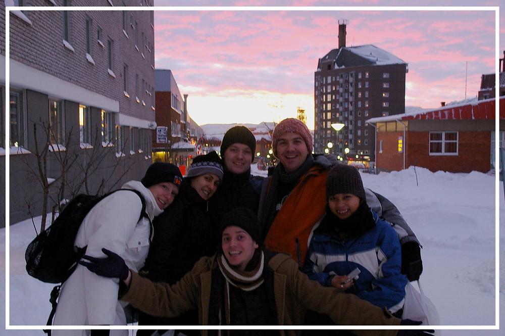 Friends under an Arctic sunset at 1pm in Kiruna