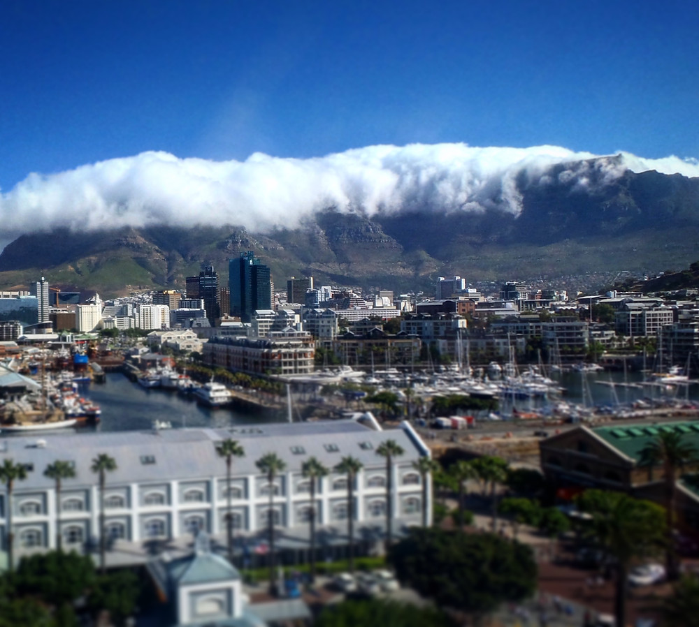 A view across the V&A Waterfront to Table Mountain