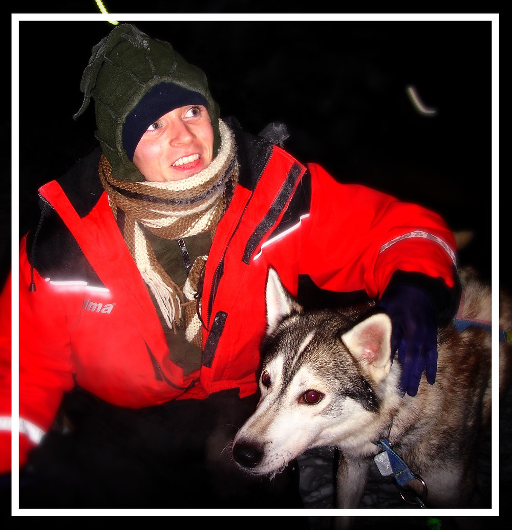 Mark with a huskie dog