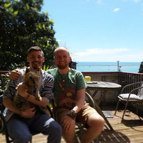 Us with Maizie the Silkie terrier