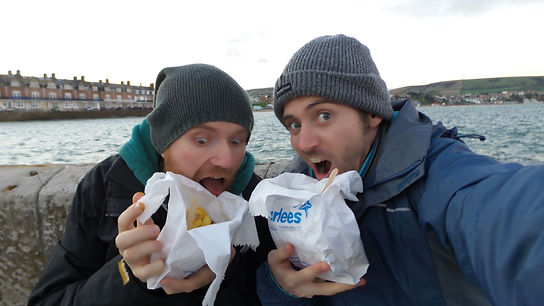 Eating fish and chips in Swanage