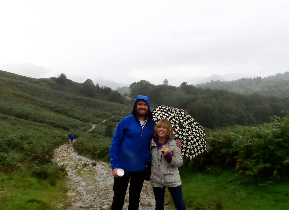 Nate and Mark's mum on the White Moss trail, Grasmere