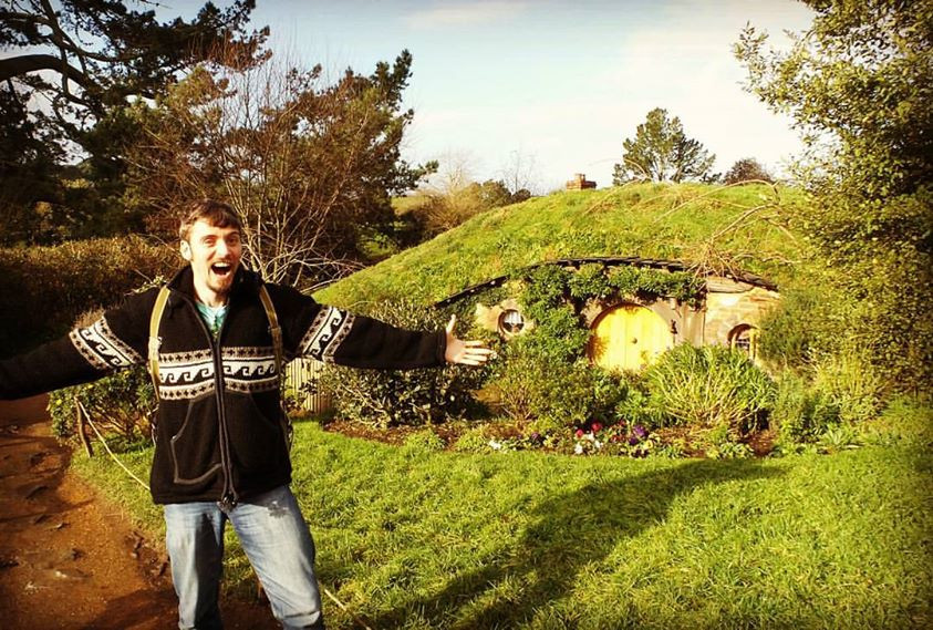 Mark gets a bit excited at Hobbiton