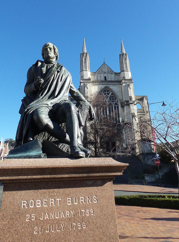 The statue of Robert Burns in the Octagon, Dunedin