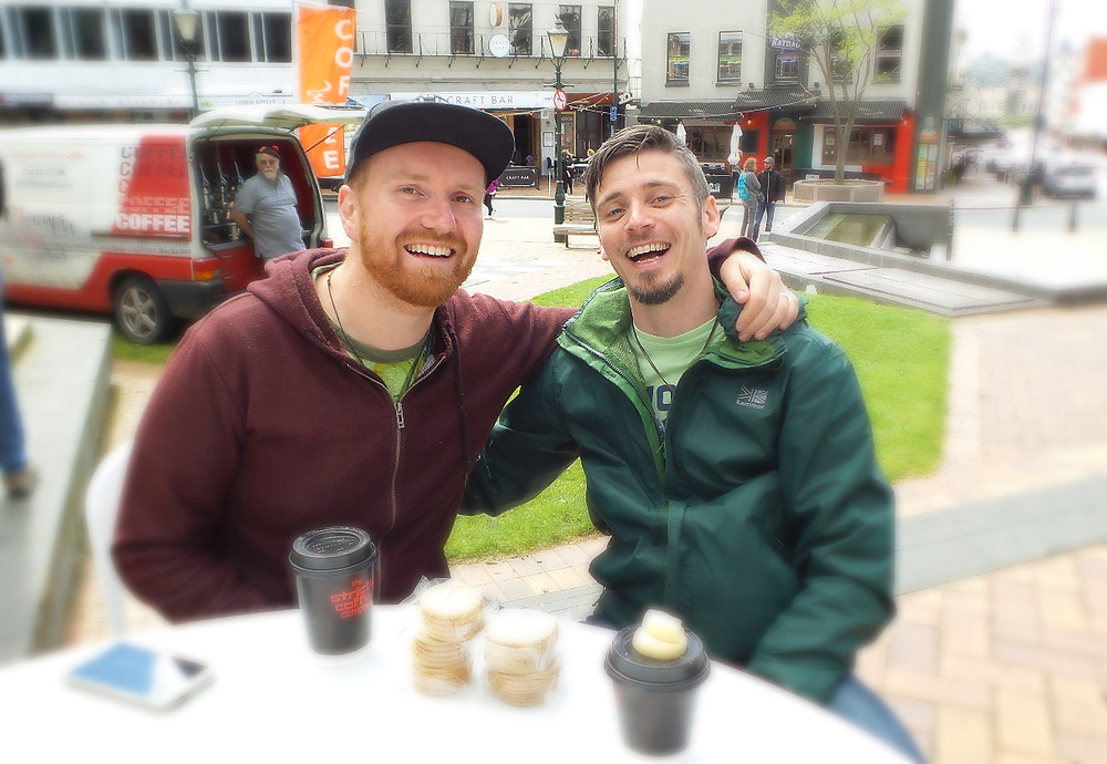 Mark and Nate celebrate St Andrews Day in Dunedin