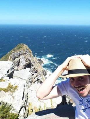 Hanging onto my hat at Cape Point