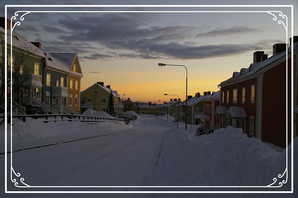 The midwinter light in Kiruna, Sweden