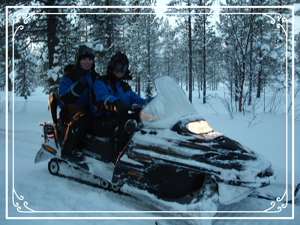 Jon and I ride a skidoo in Kiruna, Sweden