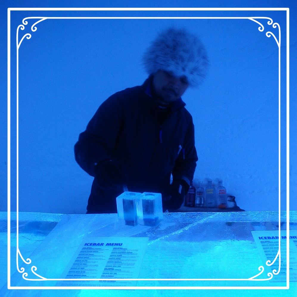 A bartende at the Ice Hotel, Sweden