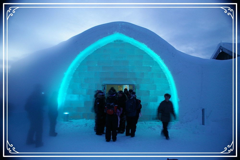 The entrance to the Ice Hotel, Sweden