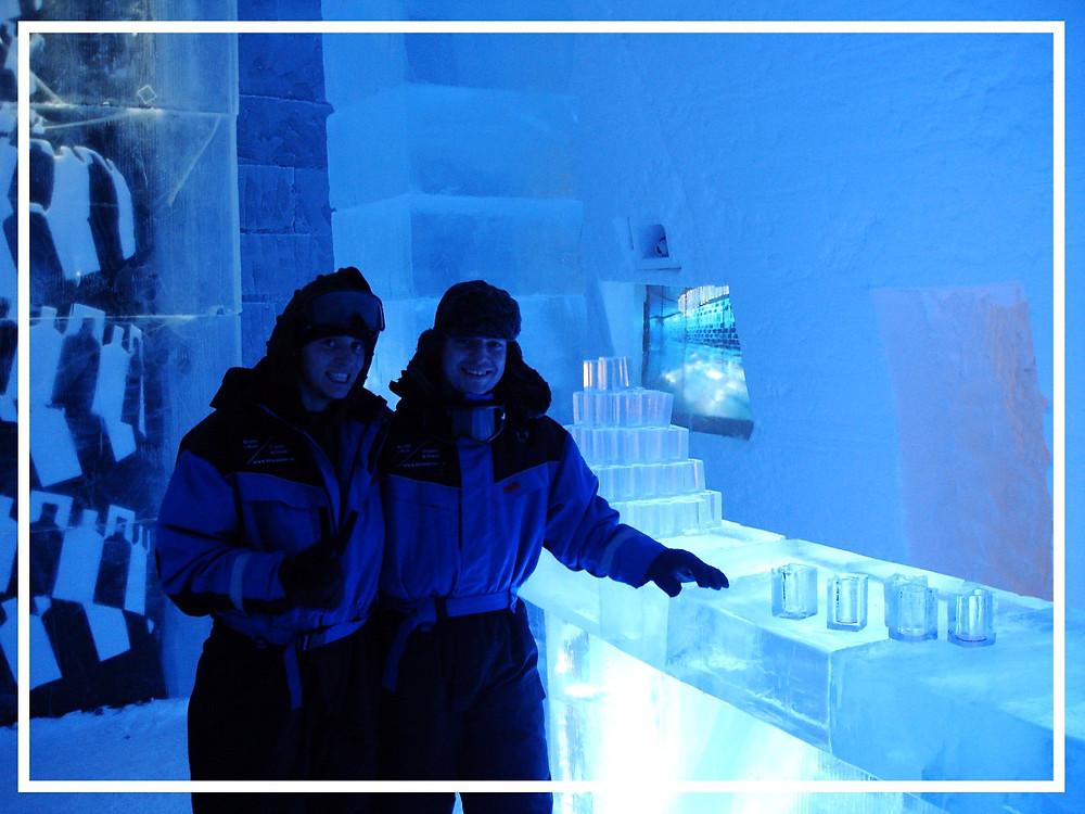 Mark and Jon at the Ice Bar in the Ice Hotel, Jukkasjärvi