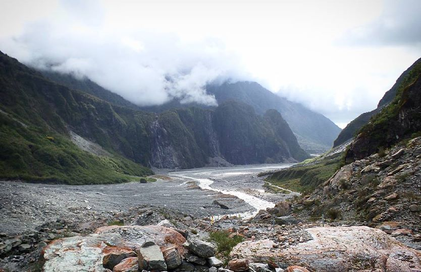 Fox Glacier valley in New Zealand