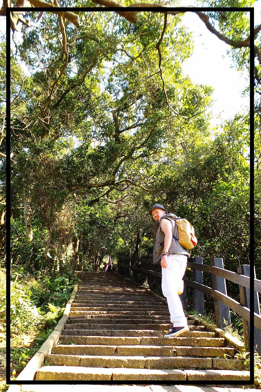 Nate walks the steps at Elephant Mountain, Taipei