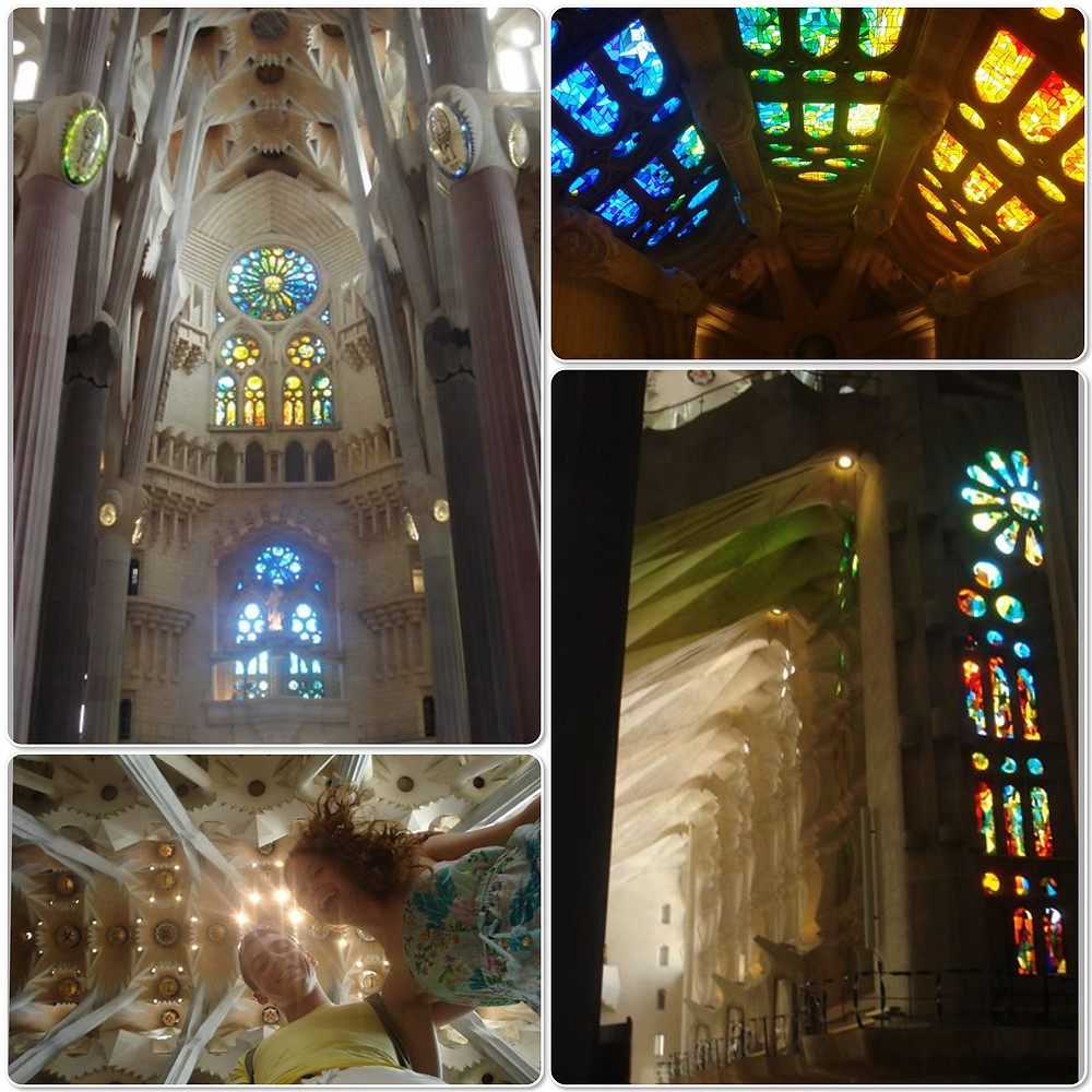 The inside of La Sagrada Familia, Barcelona