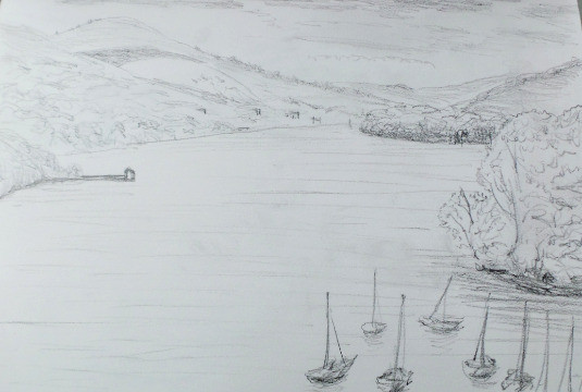 Pencil sketch of Windermere by Mark J Newton