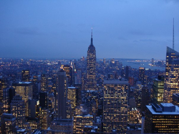 View of NYC city lights at dusk