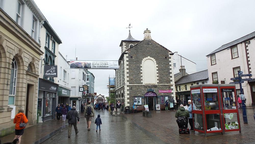 Rainy Keswick town square
