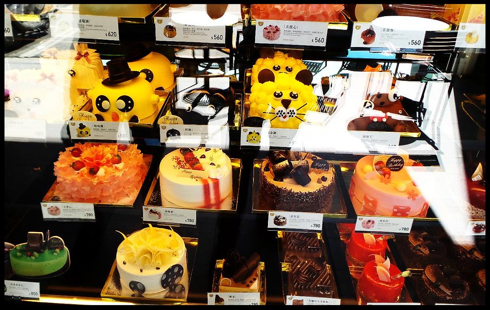 A cake shop window in Taichung, Taiwan
