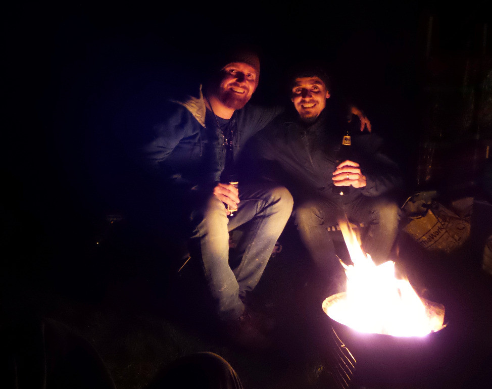 Nate and Mark by the campfire