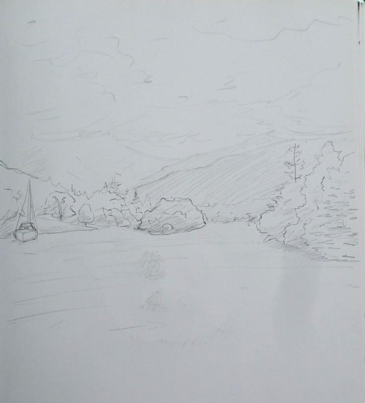 Pencil sketch of Windermere by Nate Evans