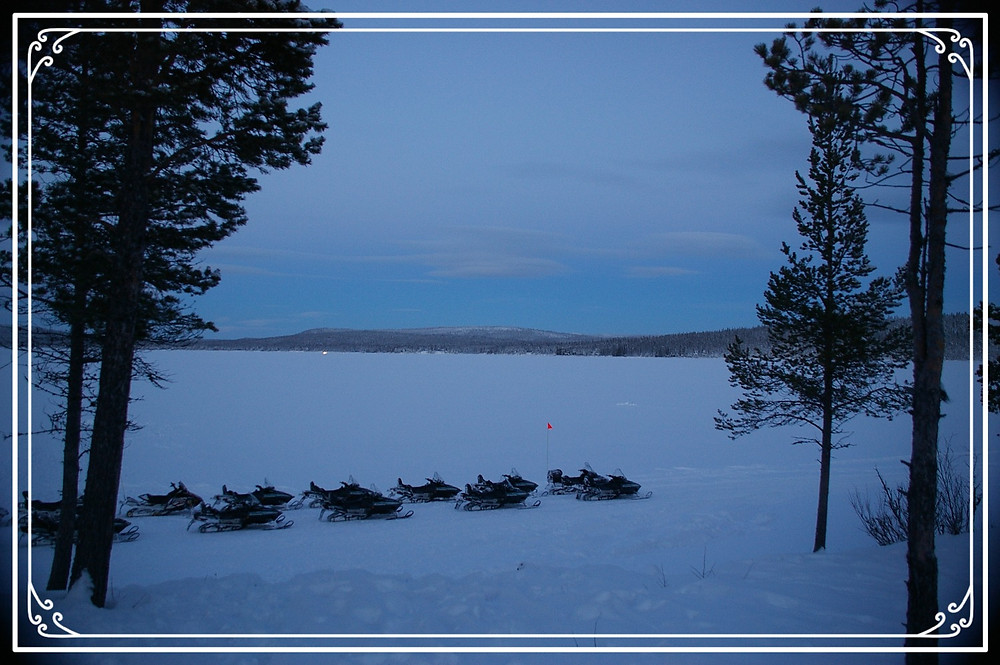 Skidoos on the ice near Kiruna, Sweden