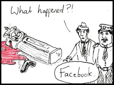 cartoon of a time killed by social media