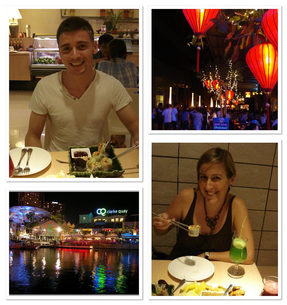 Mark and Katrina dining at Clarke Quay Singapore