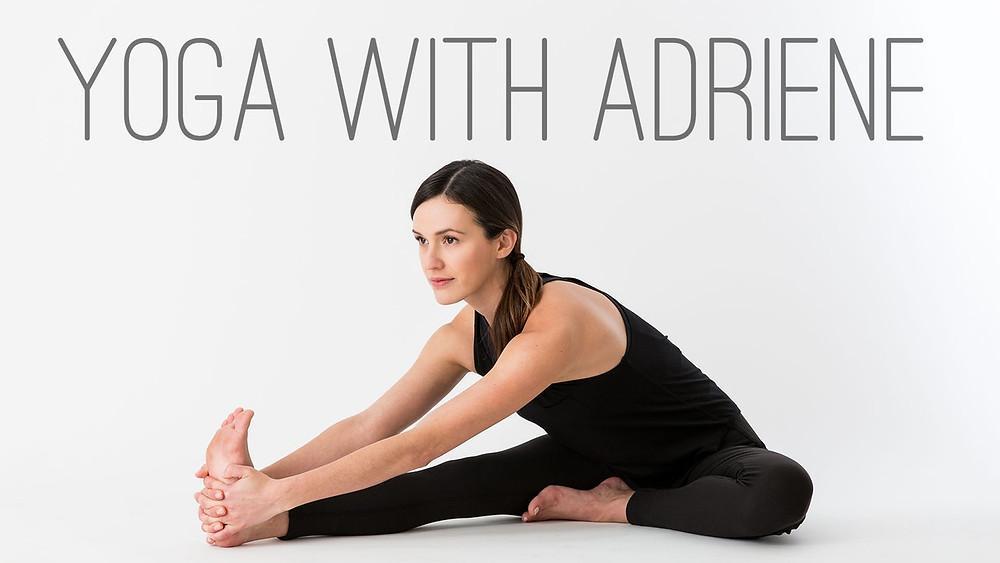 Photo of Adriene the yoga teacher from https://yogawithadriene.vhx.tv/ywa-library