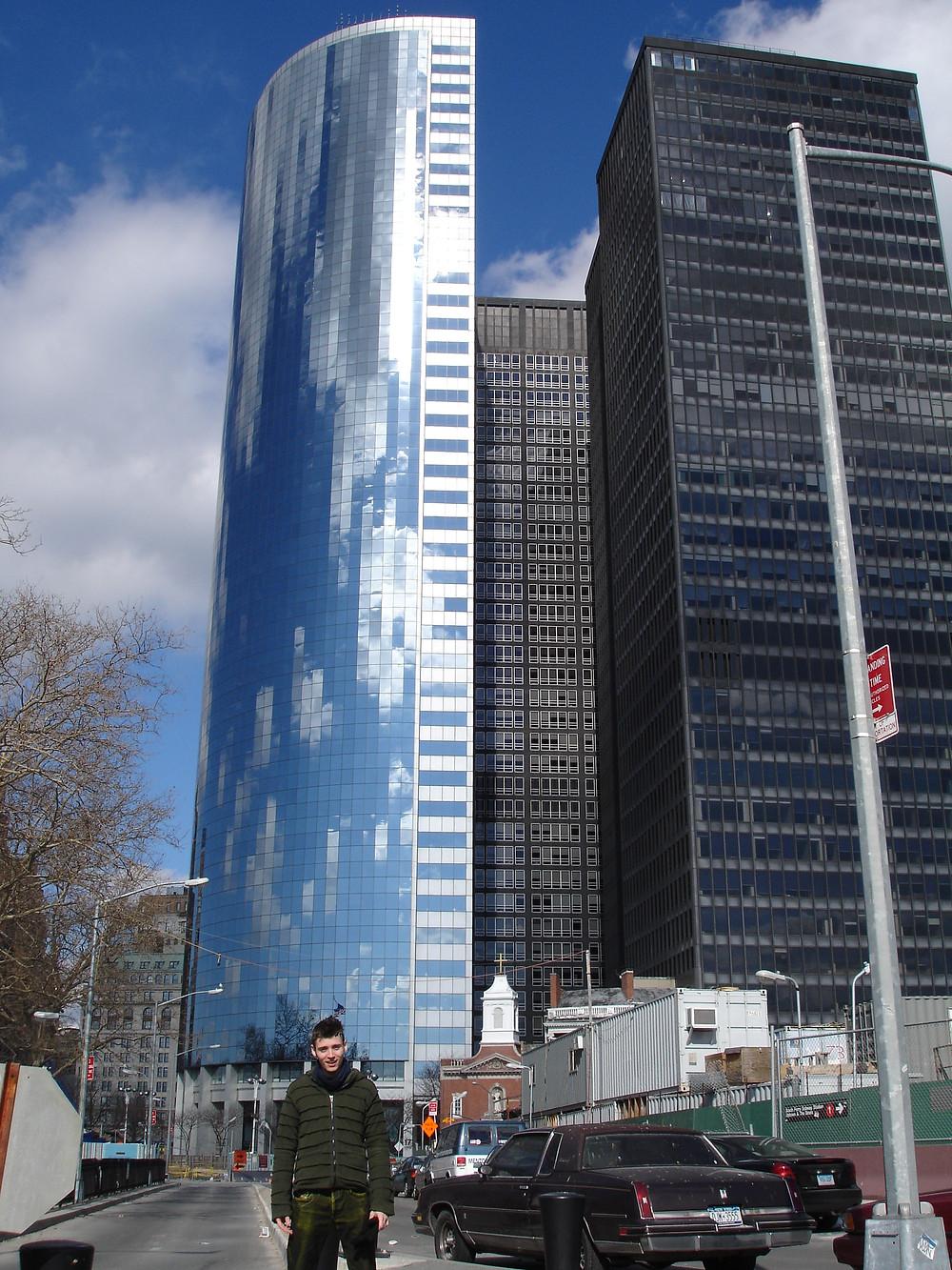 Digital clouds in the buildings in NYC