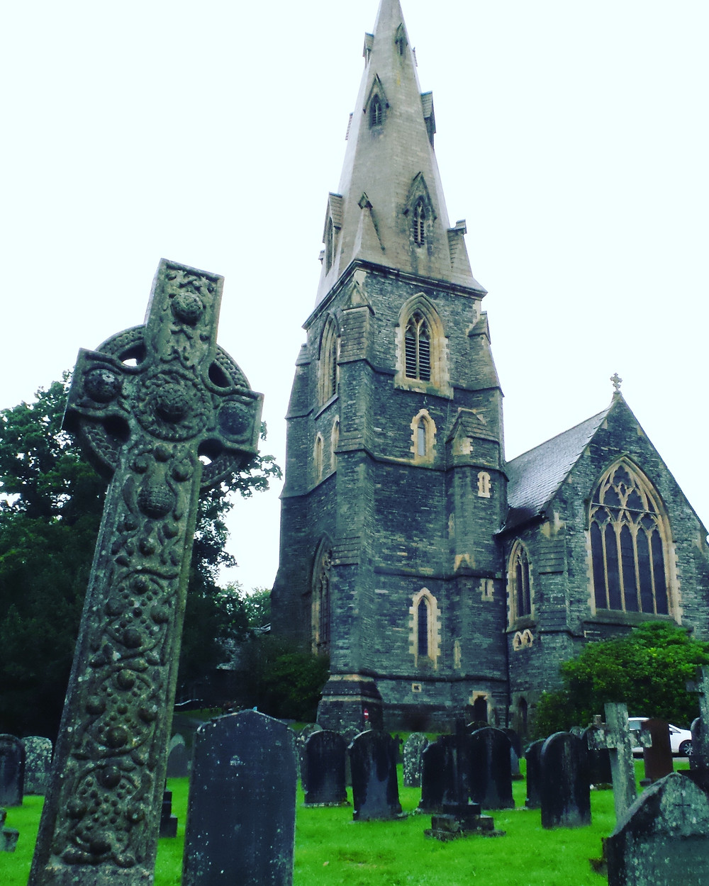 St Mary's Church, Ambleside, with a Celtic cross