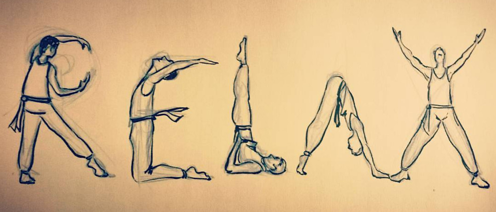 Illustration of people doing yoga by Nate Evans