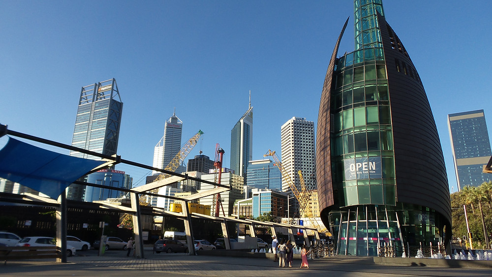 Architecture around Elizabeth Quay in Perth, WA