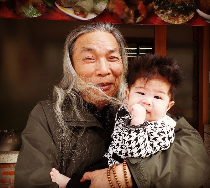 Grandfather and grandson in Taiwan