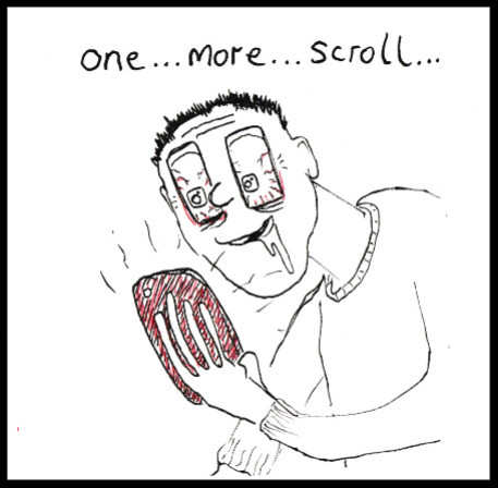 cartoon of a screen addict