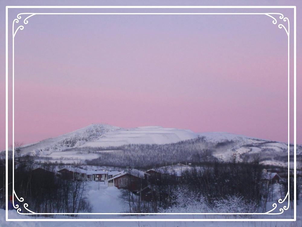 A snow scene in Kiruna, Sweden