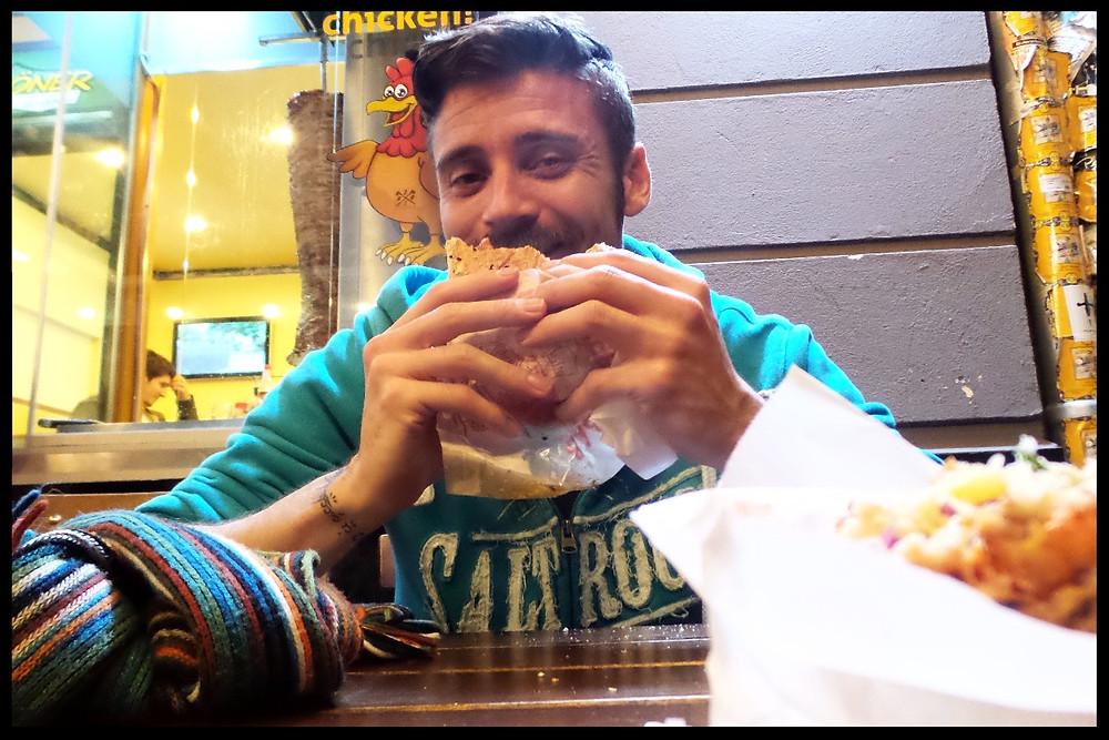 Mark enjoys kebab at Mustafa's