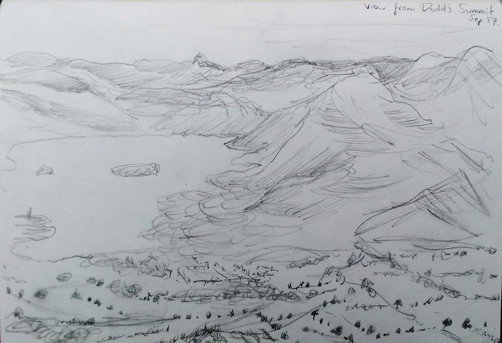 Pencil sketch of Derwent Water from Dodd Summit by Mark J Newton