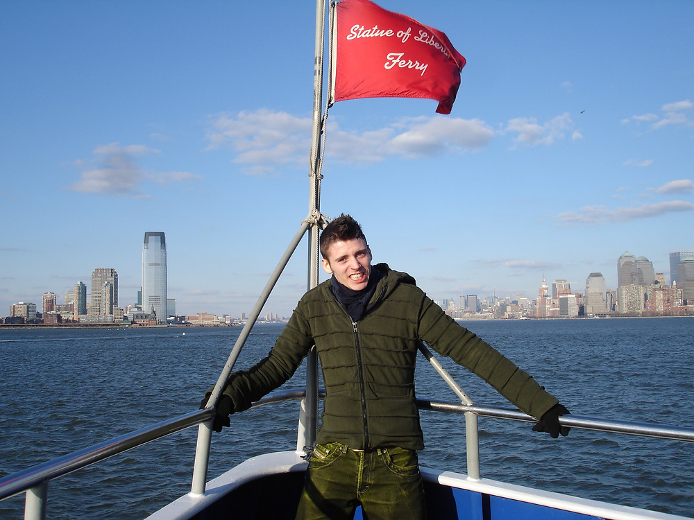 Mark on the ferry to Ellis Island, NYC