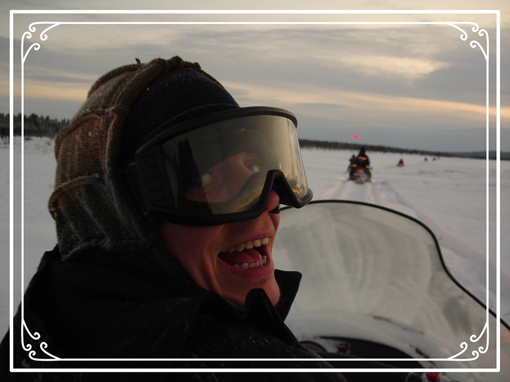 Me feeling slightly delirious about skidooing across a lake on Xmas morning