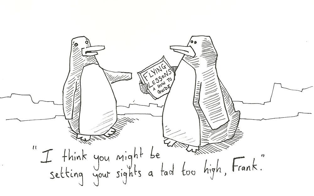 two penguins optimism cartoon illustration