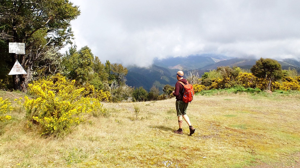 Man walking into distance on mountain, Nelson, New Zealand