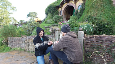 Getting engaged at Bilbo Baggins's house in Hobbiton