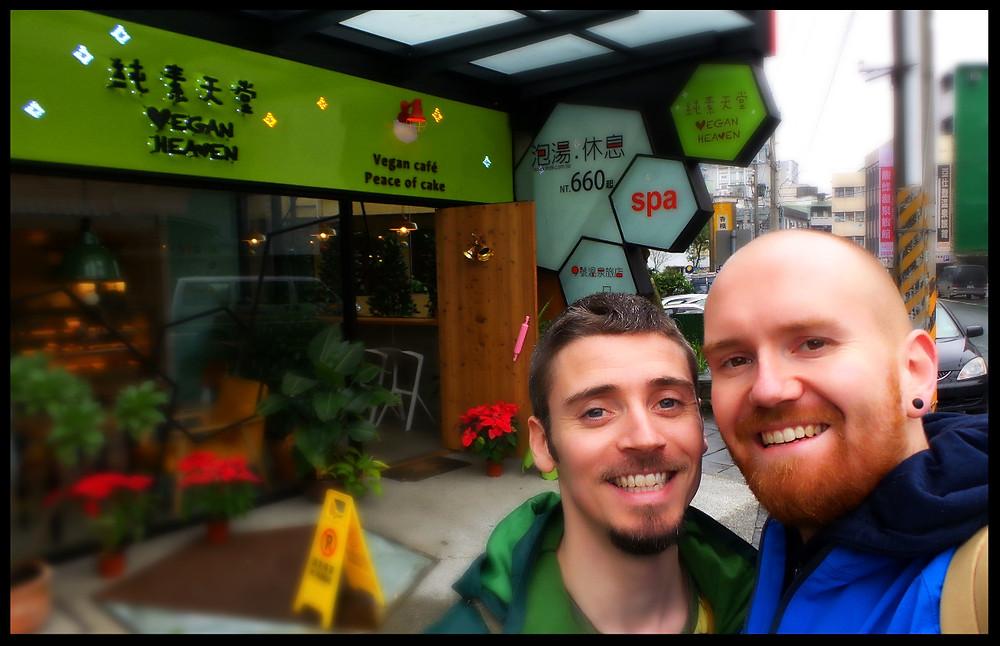 Outside the Vegan Heaven cafe in Jiaoxi, Yilan