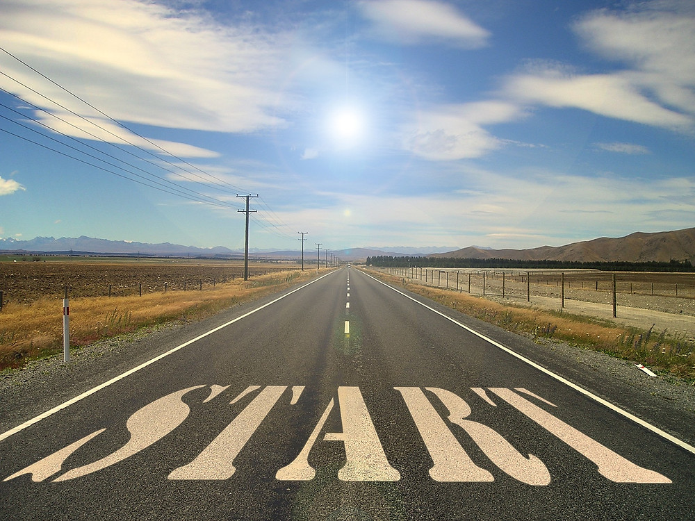 """Open desert road with the word """"start"""" on it: Image courtesy of geralt on Pixabay free images"""