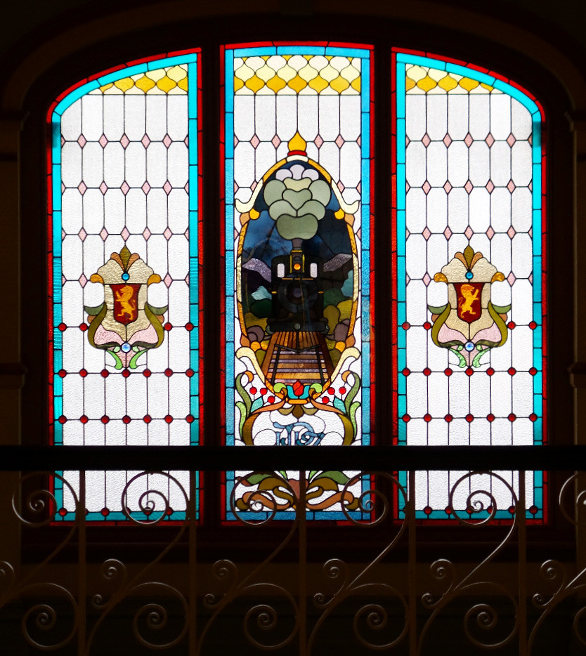Stained-glass window in Dunedin Railway Station
