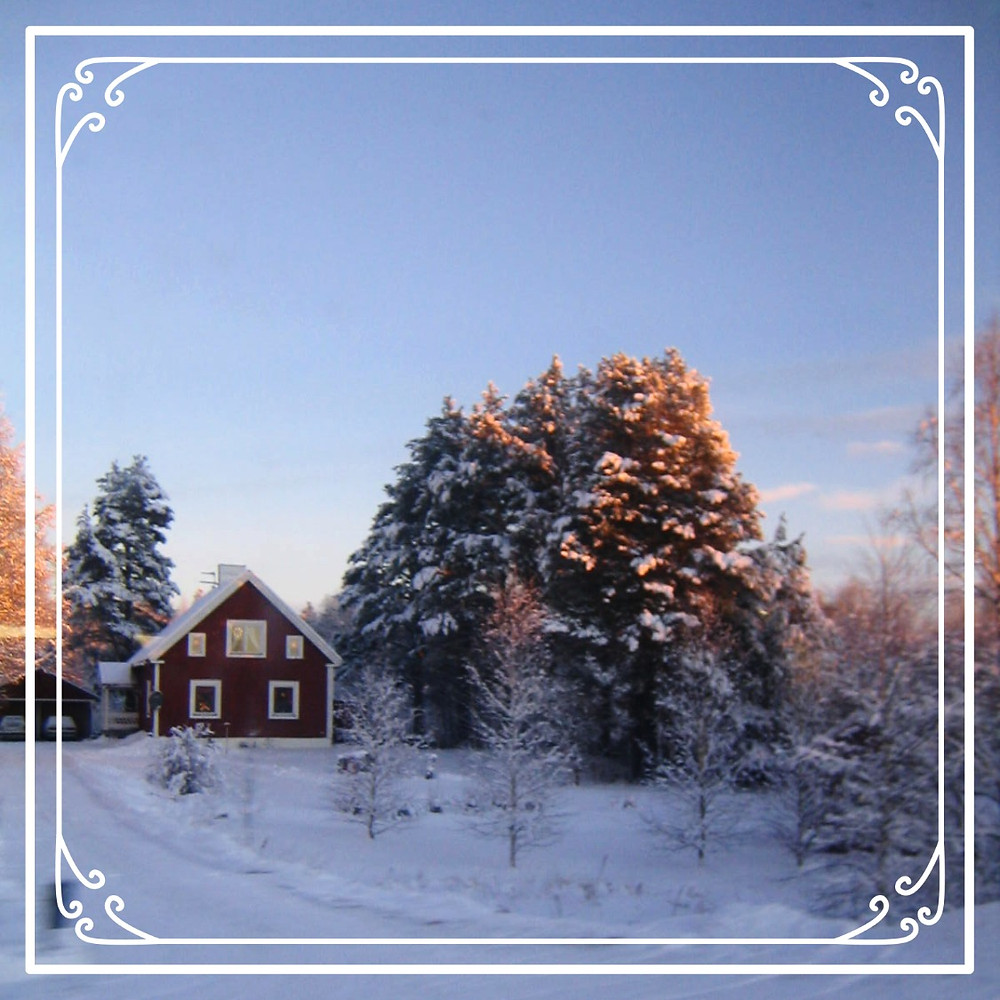 A typical red house on the road to Kiruna in northern Sweden