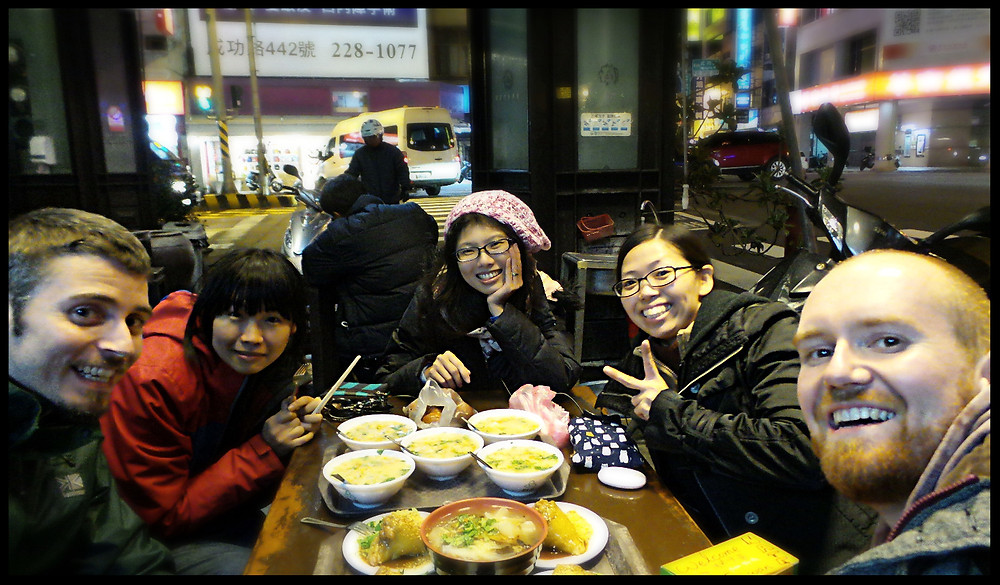 Eating street food in Tainan with friends