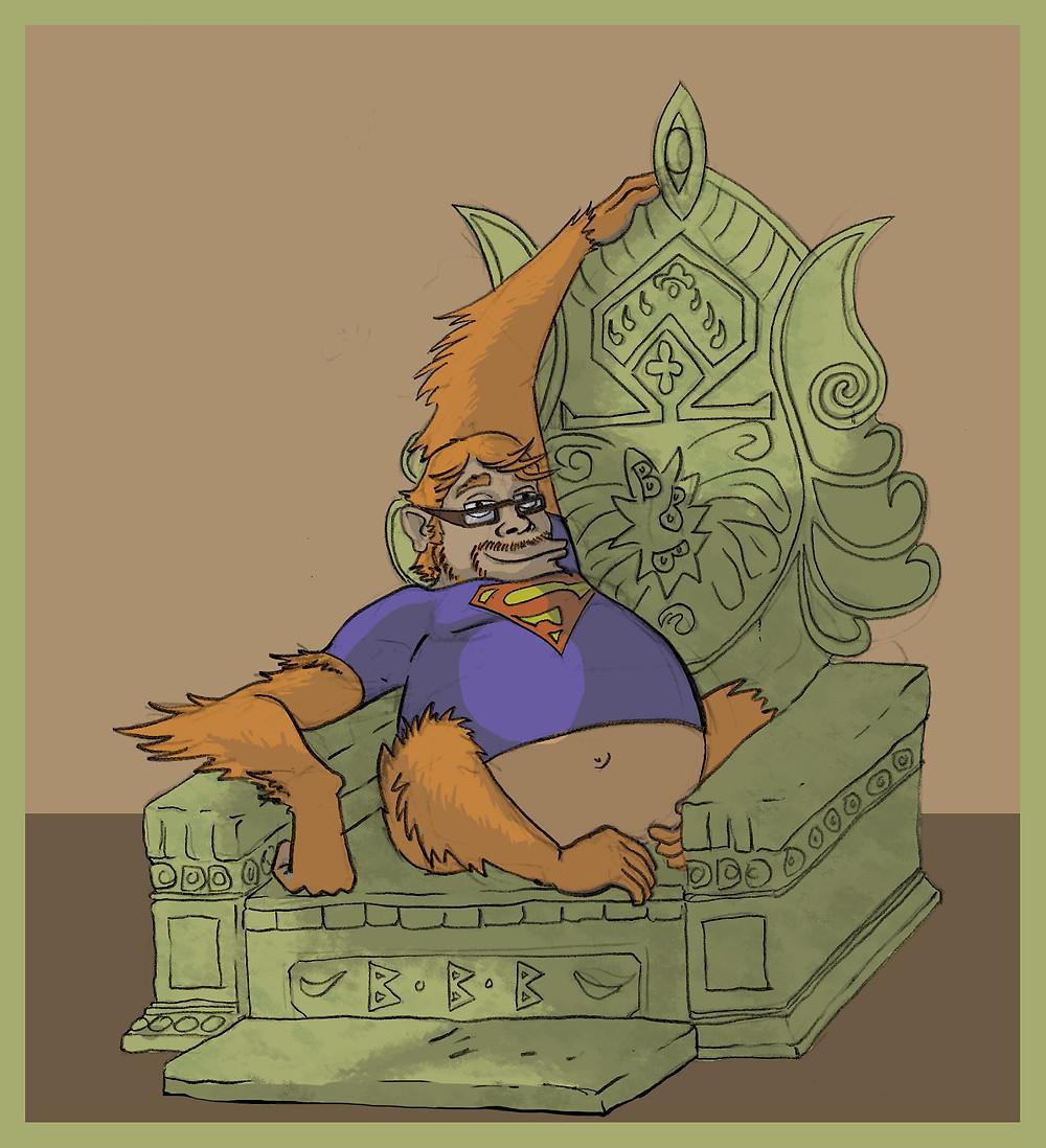 Illustration of Nate as an orang utan by Nate Evans