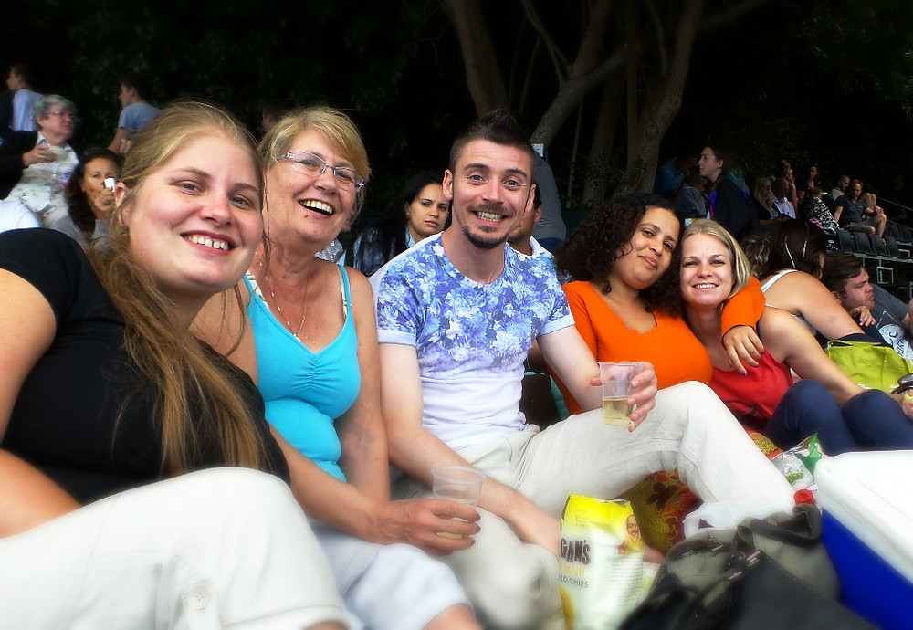Watching the summer concert with friends